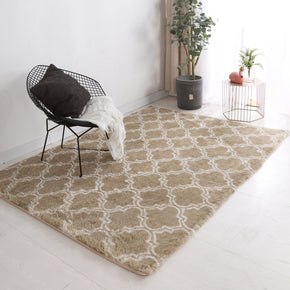 Brown Soft Comfortable Geometric Plush Shaggy Rugs Bedroom Living Room Bedside Rug Floor Mat 02