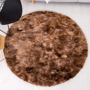 Brown Round Super Soft Plain Shaggy Rugs Living Room Bedroom Kids Room Bedside Floor Rugs