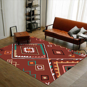 Customizable Red Modern Geometric Patterned Anti-slip Sofa Rug Table Rug Living Room Bedroom Area Rugs