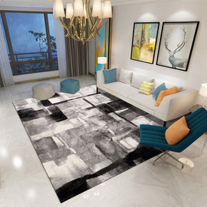Black Modern Printed Abstract Patterned Carpet Living Room Bedroom Office Hall Floor Mat Rugs
