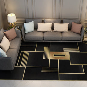 Black Modern Contemporary Simple Geometric Rugs for Living Room Dining Room Bedroom