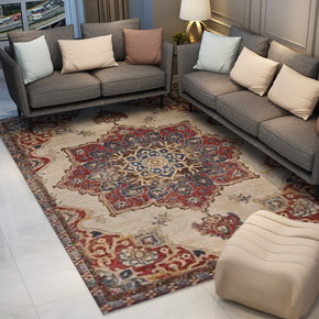 Red Vintage Traditional Flower Area Rug Living Room Hall Office Floor Rug