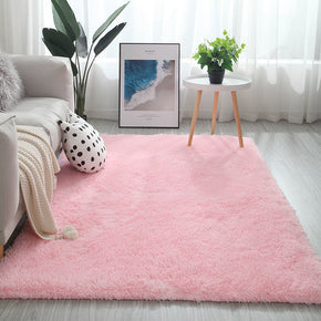 Light Pink Colour Modern Plain Carpet Bedroom Living Room Sofa Rugs Soft Plush Shaggy Rugs