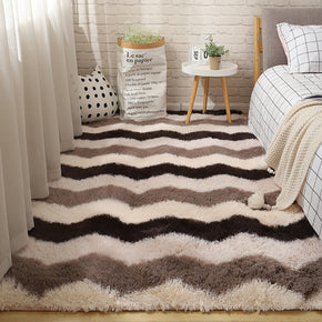 Modern Striped Carpet Bedroom Living Room Sofa Rugs Soft Plush Shaggy Rugs