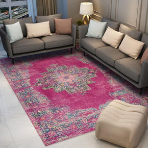 140*200cm Pink Traditional Patterned Area Vintage Rug