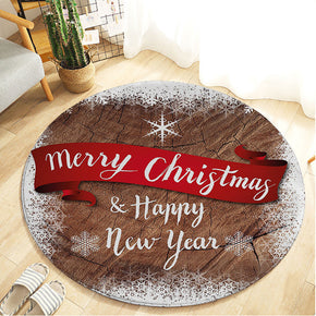 Brown Christmas Holiday Round Flannel Kitchen Doormat Bathroom Floor Mats Rugs Christmas Tree