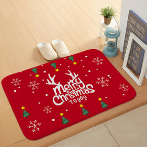 Beautiful Red Merry Christmas Holiday Door Mat Kitchen Entryway Bathroom Christmas Decorations Gift Floor mats