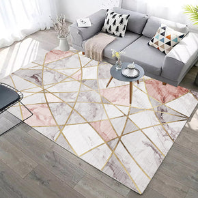 Light Pink Modern Simple Gold Lines Geometric Contemporary Rugs for Living Room Dining Room Bedroom
