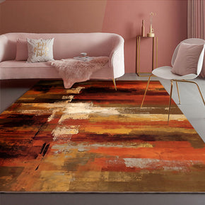 Orange Abstract Modern Patterned Area Rugs Polyester Carpets for Office Living Room Dining Room Bedroom Hall