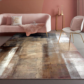 Brown Gradient Modern Area Rugs Abstract Patterned Polyester Carpets for Bedroom Office Living Room Hall Dining Room