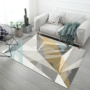 Multi-Coloured Diamond And Lines Pattern Modern Simple Contemporary Geometric Rugs For Living Room Dining Room Bedroom