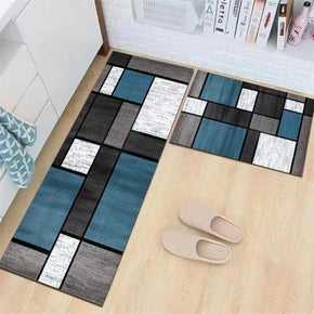 Blue Grey Modern Patterned Geometric Moroccan Kitchen Mat Polyester Doormat Runners Rugs Bathroom Anti-skip Mats