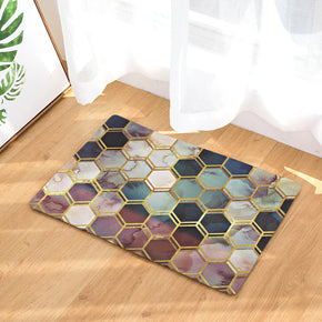 Colourful Three-dimensional Hexagon Geometric Pattern Entryway Doormat Rugs Kitchen Bathroom Anti-slip Mats