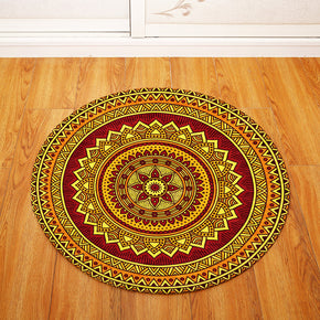 3D Traditional Vintage Geometric Printing Patterned Round Entryway Doormat Rugs Kitchen Bathroom Anti-slip Mats 03