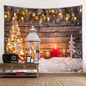 Candle Holiday Christmas Tree Decor Tapestry Hanging Rugs Wall Art Tapestries for Bedroom Living Room Hall Dorm