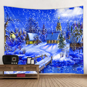Christmas Blue Snow House for Bedroom Kitchen Living Room Hall