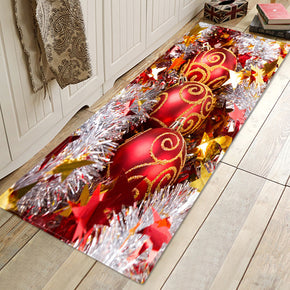 Christmas Colourful Bell Pattern Red Christmas Entryway Doormat Runners Rugs Kitchen Bathroom Anti-skip Mats
