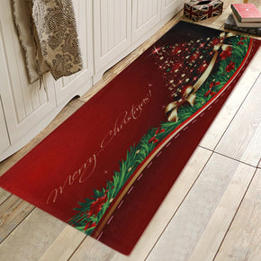 Beautiful Christmas Tree Pattern Red Christmas Entryway Doormat Runners Rugs Kitchen Bathroom Anti-skip Mats