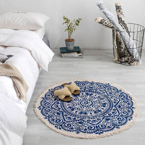 Round Cotton Area Rug with Tassel Hand Woven Machine Washable Floor Carpet Rug for Living Room Bedroom 90cm 01