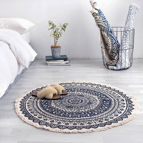 Round Cotton Area Rug with Tassel Hand Woven Machine Washable Floor Carpet Rug for Living Room Bedroom 90cm 02