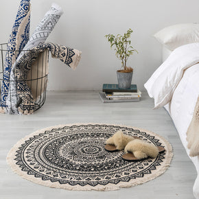 Round Cotton Area Rug with Tassel Hand Woven Machine Washable Floor Carpet Rug for Living Room Bedroom 90cm 03
