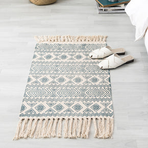 Vintage Moroccan Cotton Area Rug with Tassel Hand Woven Floor Carpet Rug for Living Room Bedroom 60*90cm 02