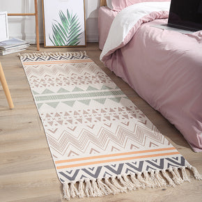 Colourful Geometric Cotton Area Rug with Tassel Hand Woven Floor Carpet Rug for Living Room Bedroom 06