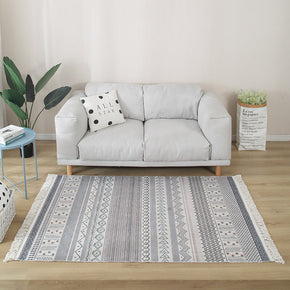 Moroccan Geometric Cotton Area Rug with Tassel Hand Woven Floor Carpet Rug for Living Room Bedroom