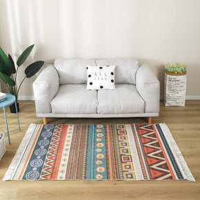Colourful Geometric Cotton Area Rug with Tassel Hand Woven Floor Carpet Rug for Living Room Bedroom