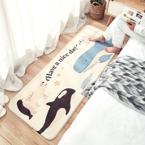 Whale Lovely Cartoon Patterned Plush Soft Girls Boys Bedroom Kids Room Bedside Carpet Rugs Runners