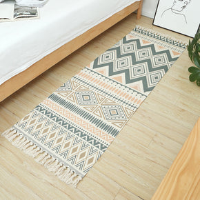 Moroccan Geometric Pattern Cotton Area Rug with Tassel Hand Woven Floor Carpet Rug for Living Room Bedroom