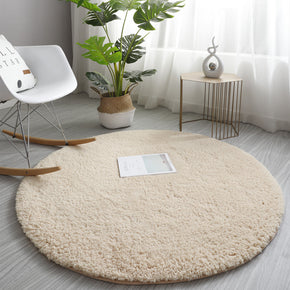 Beige Simple Round Modern Lambswool Comfy Plush Rugs For Living Room Kids Room Bedroom Bedside Carpet