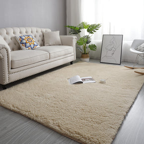 Cream Colour Simple Modern Comfy Lambs Wool Shaggy Rugs For Living Room Bedroom Bedside Carpet