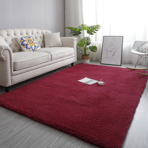 Wine Red Simple Modern Plain Comfy Lambswool Comfy Plush Rugs For Living Room Bedroom Bedside Carpet