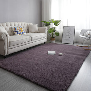 Grey-Purple Simple Modern Plain Comfy Lambs Wool Comfy Plush Rugs For Living RoomBedroom Bedside Carpet