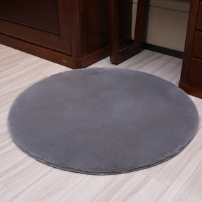 150*150cm Grey Round Faux Rabbit Fur Plain Shaggy Soft Rugs