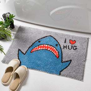 Cartoon Cute Shark Patterned Entryway Doormat Rugs Kitchen Bathroom Anti-skip Mats