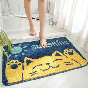 Yellow Cat Patterned Entryway Doormat Rugs Kitchen Bathroom Anti-slip Mats