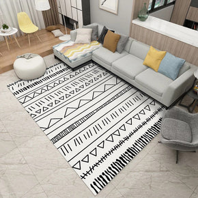 Black White Modern Moroccan Geometric Striped Patterned Non-slip Sofa Rug Table Rug Area Rugs Customizable