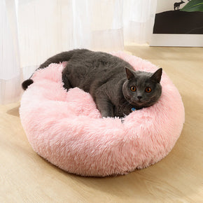 Round Pink Donuts Plush Pet Bed for Dogs & Cats , Fluffy Soft Warm Calming Sleeping Bed