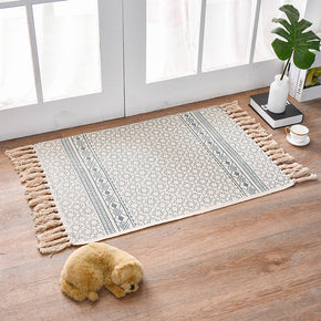 Vintage Cotton Area Rug with Tassel Hand Woven Floor Carpet Rug for Living Room Bedroom 60*90cm 01