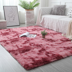 Gradient Red Colour Modern Plain Carpet Bedroom Living Room Sofa Rugs Soft Plush Shaggy Rugs