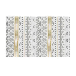 Simple Grey and Yellow Modern Morracan Geometric Patterned Rug Bedroom Living Room Sofa Rugs Floor Mat
