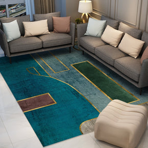 Blue Green Modern Contemporary Simple Geometric Rugs for Living Room Dining Room Bedroom