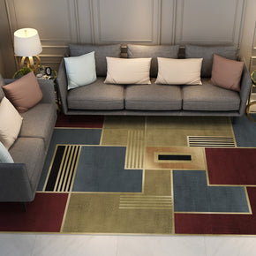 Red Golden Modern Contemporary Geometric Rugs for Living Room Dining Room Bedroom Hall