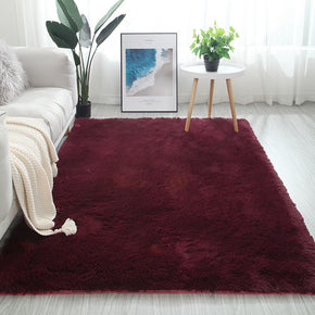 Wine Red Colour Modern Plain Carpet Bedroom Living Room Sofa Rugs Soft Plush Shaggy Rugs