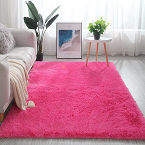 Deep Pink Colour Modern Plain Carpet Bedroom Living Room Sofa Rugs Soft Plush Shaggy Rugs
