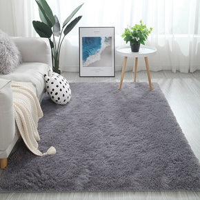 Silver-grey Colour Modern Plain Carpet Bedroom Living Room Sofa Rugs Soft Plush Shaggy Rugs