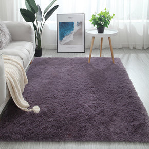 Greyish-Purple Colour Modern Plain Carpet Bedroom Living Room Sofa Rugs Soft Plush Shaggy Rugs