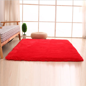 Red Colour Modern Plain Carpet Bedroom Living Room Sofa Rugs Soft Plush Shaggy Rugs